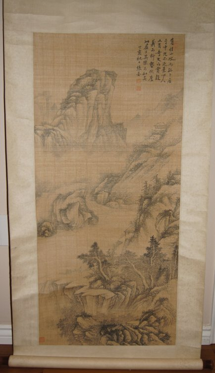 Chinese antique watercolor on fabric