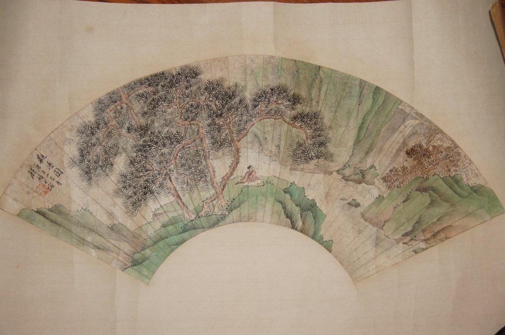 Gu Linshi; Chinese antique watercolor Fan painting