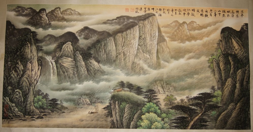 Chinese antique wide watercolor on paper
