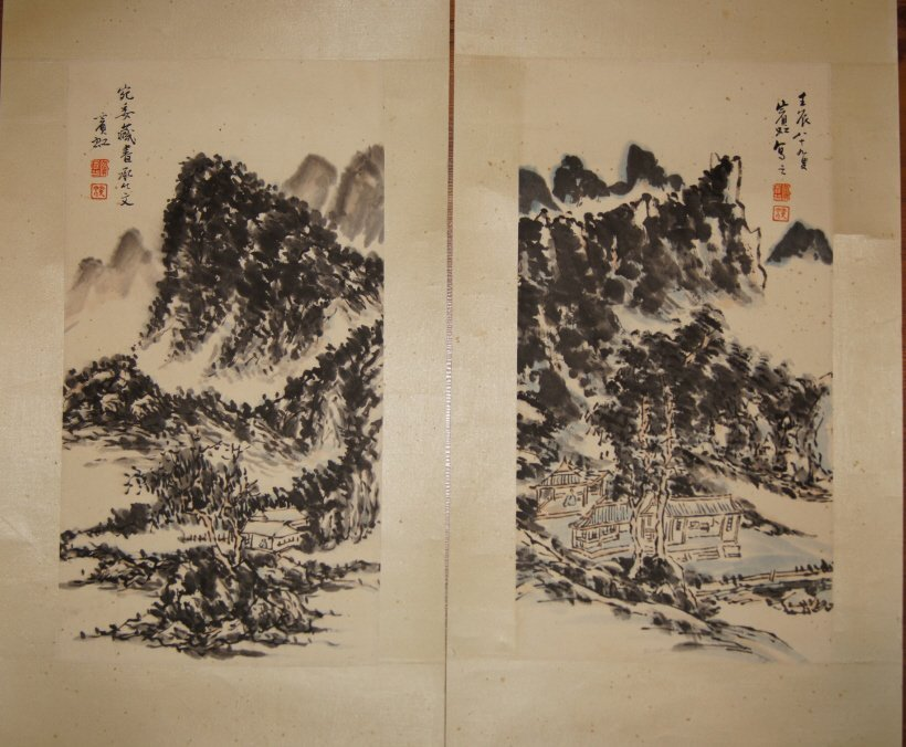 Pair of Chinese antique watercolor on paper