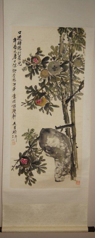 Wu Changshu; Chinese watercolor on scroll