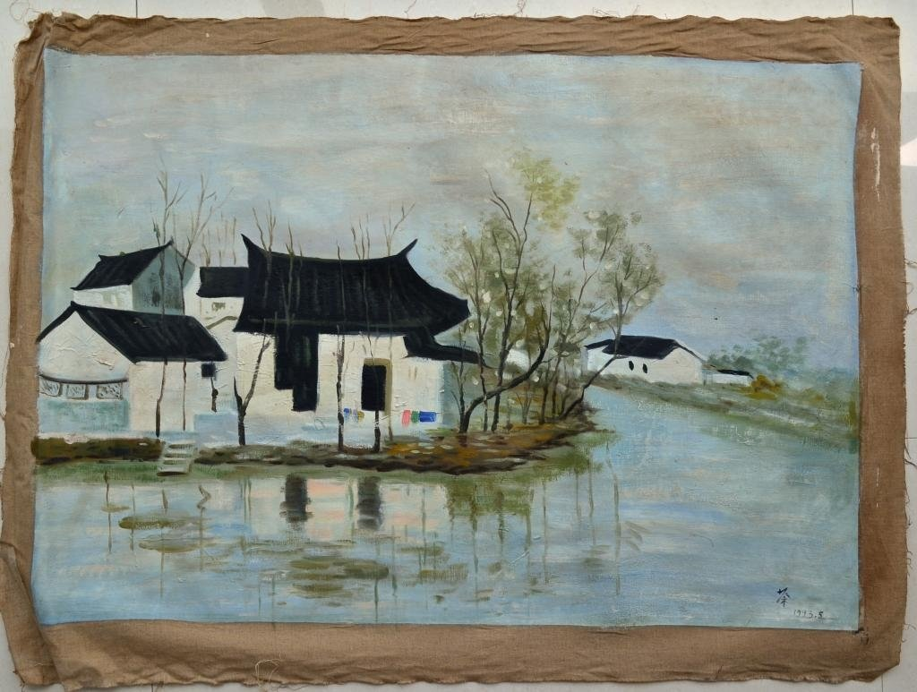 Wu GuanZhong ; Chinese Oil on canvas Painting