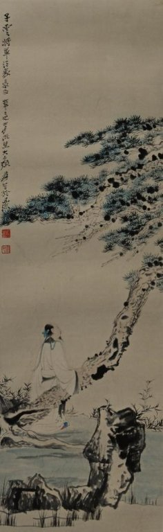 Zhang DaQian ; Chinese watercolor Scroll Painting