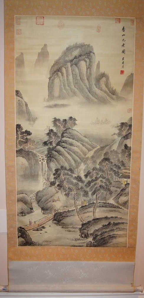 Chinese antique watercolor on Silk Scroll
