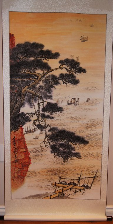 Chinese antique watercolor on paper scroll