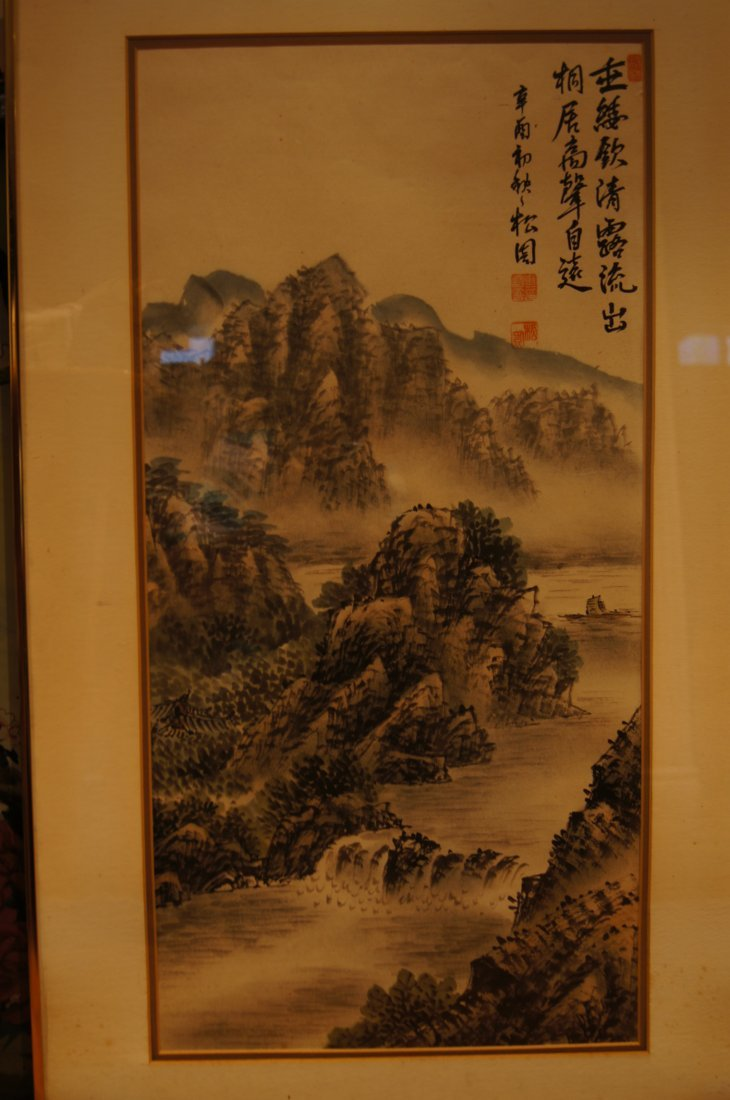 Chinese antique watercolor on paper in Frame