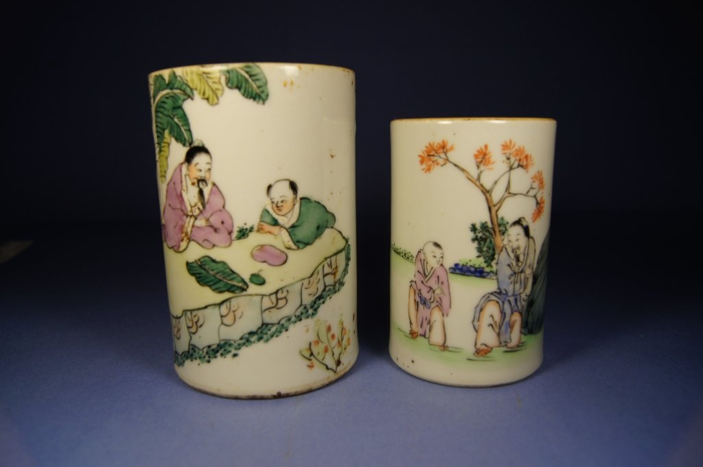 Pair of Chinese painted porcelain brush pot