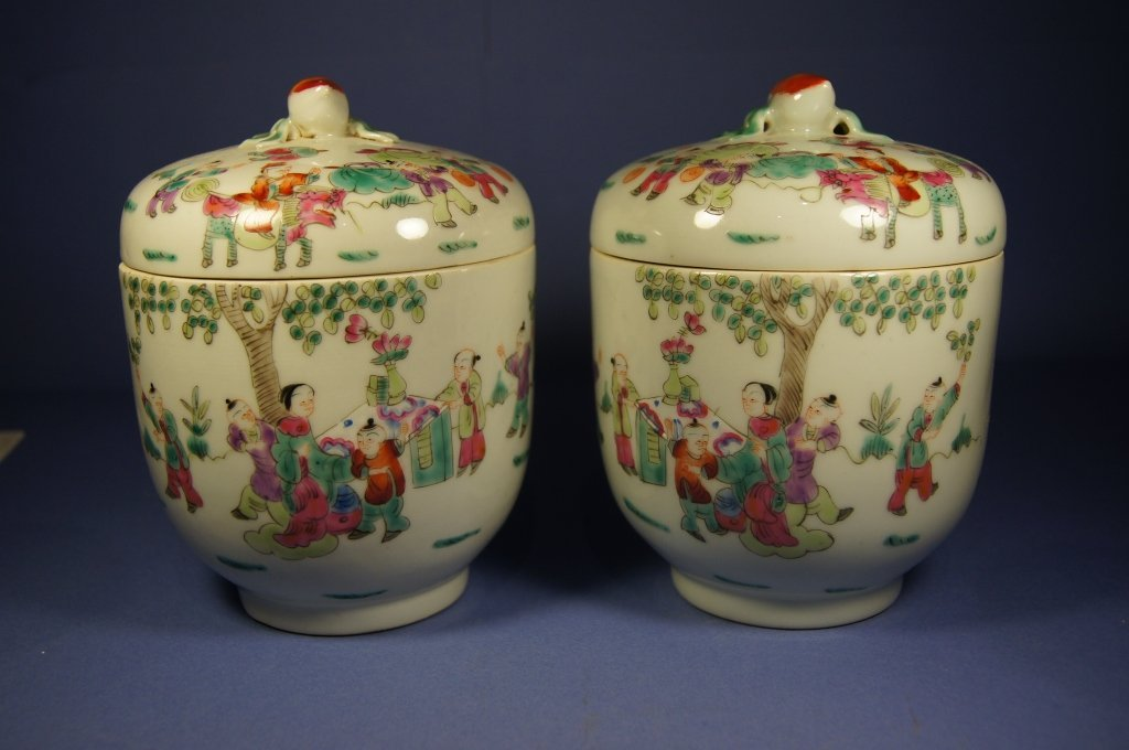 Pair Chinese antique Famille Rose jar