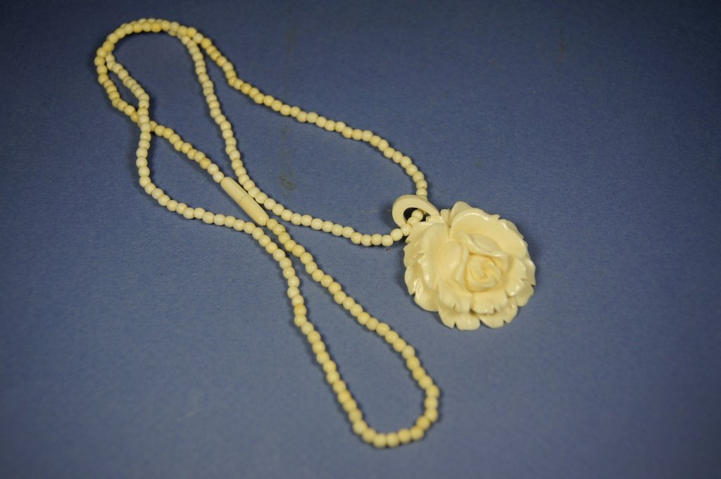 Chinese antique ivory carved necklace