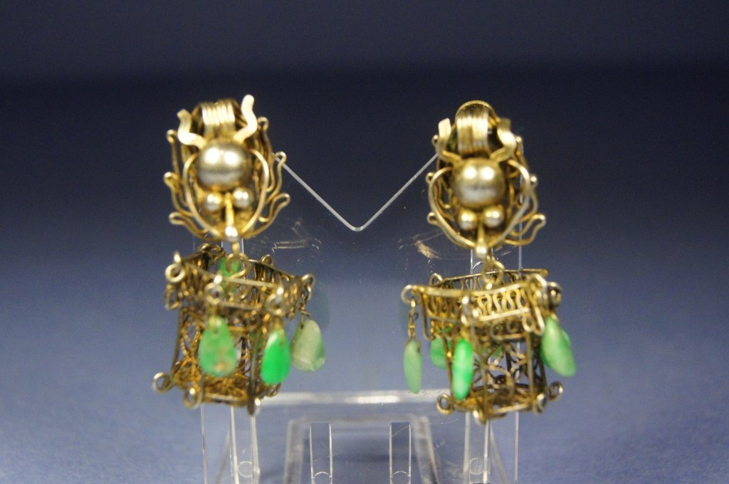 Chinese antique silver earrings with jade beads