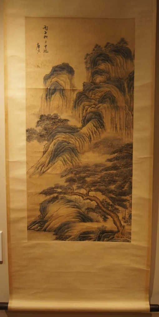 Tang Yin ; Chinese antique water color scroll