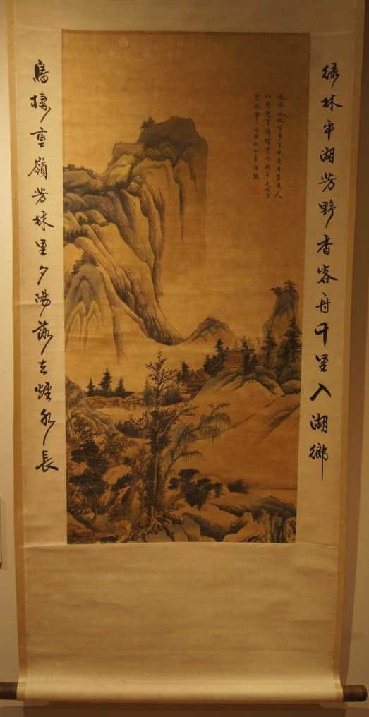 Ren Xiong ; Chinese antique water color scroll