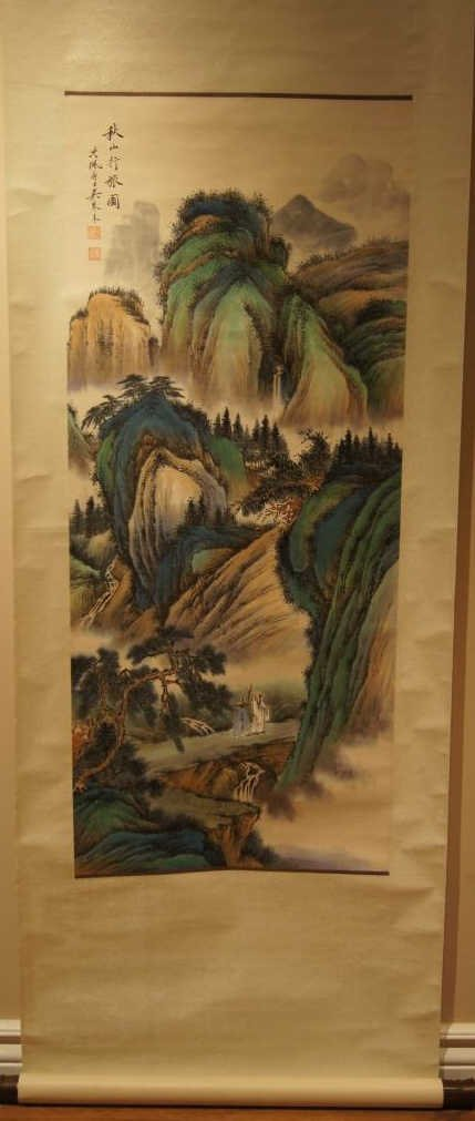 Wu QinMu ; Chinese antique water color scroll