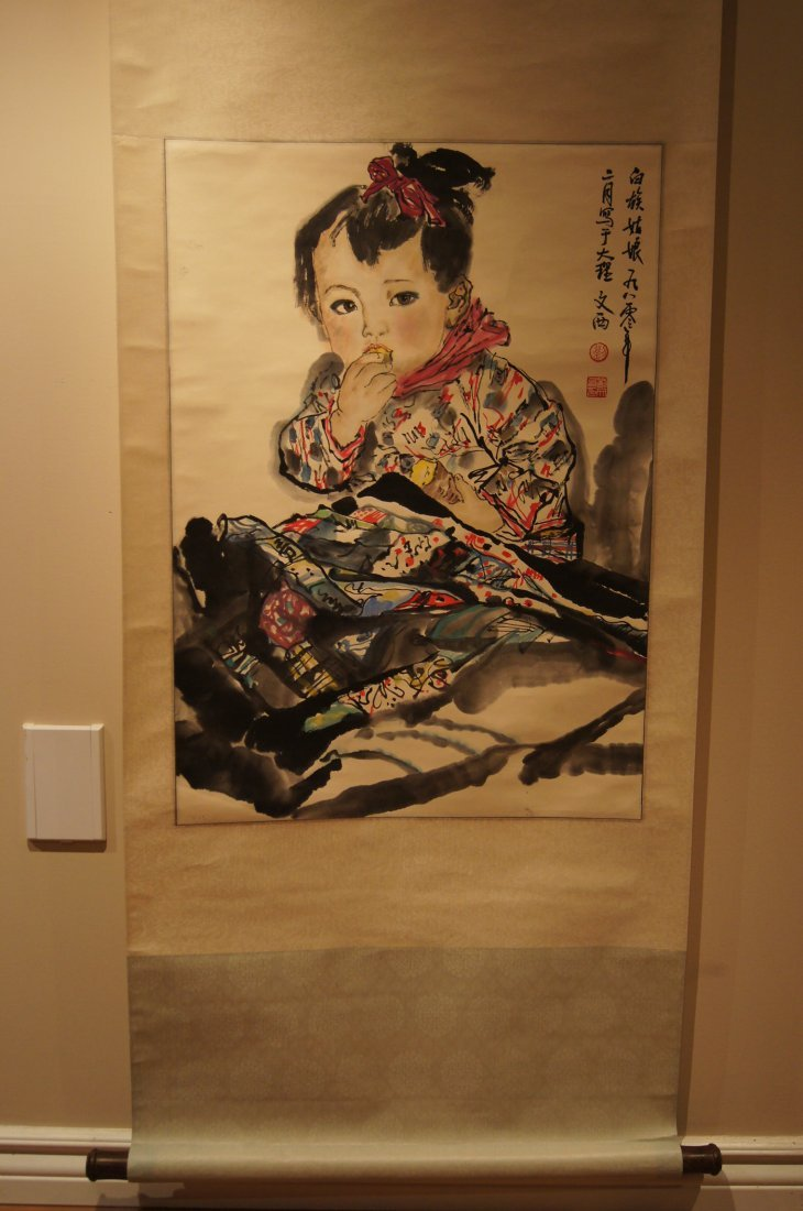 Chinese antique watercolor scroll