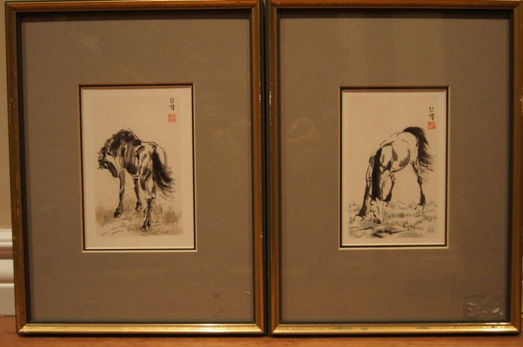 Qi Baihong ; Two Chinese antique water color