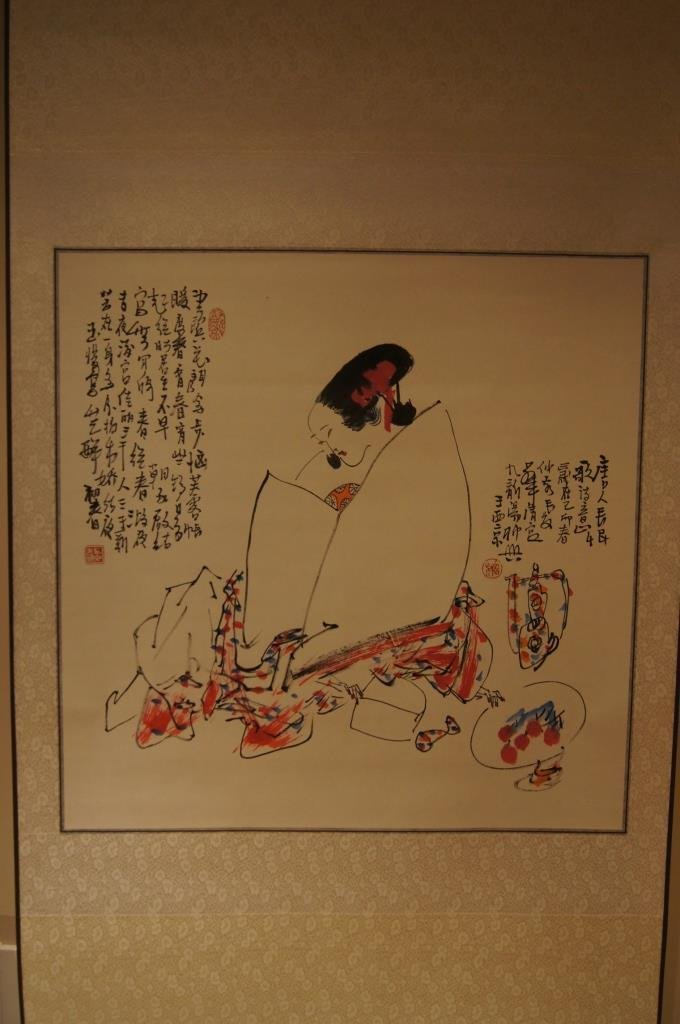 Wang Xijing;Chinese antique water color scroll painting