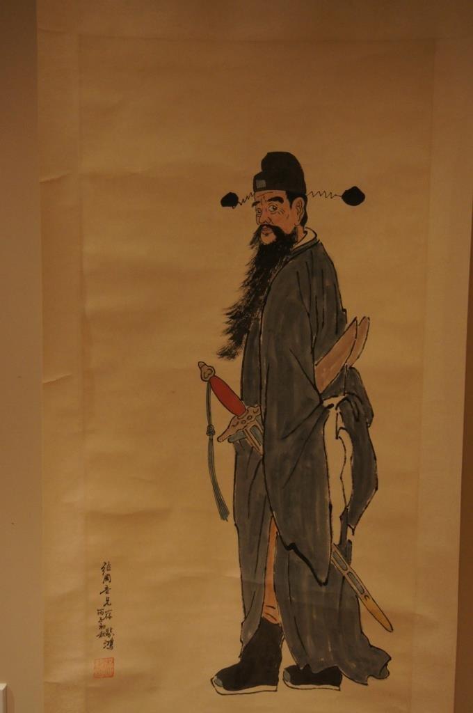 Zhong Kui by Xu Beihong ; water color scroll