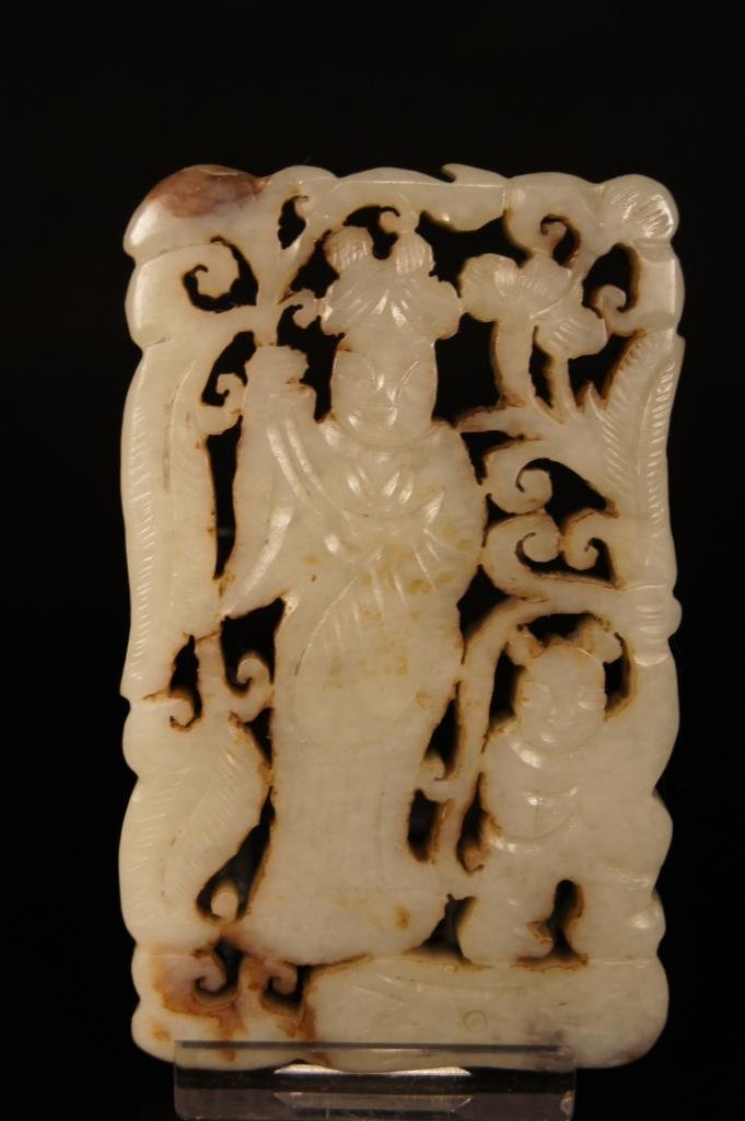 Chinese antique white jade open carving