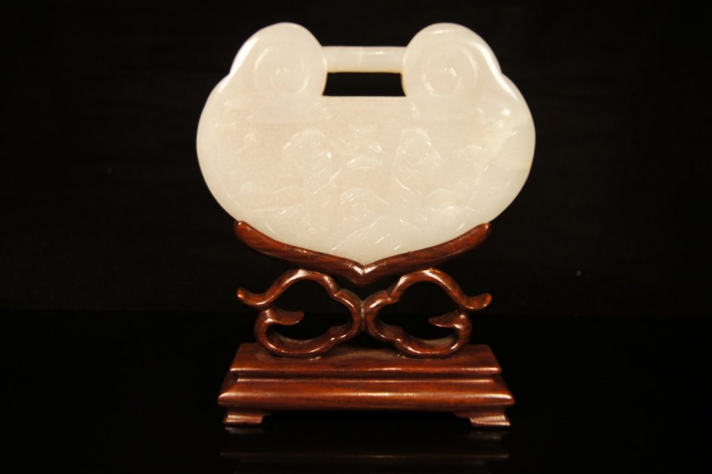 Chinese antique white jadeite with stand
