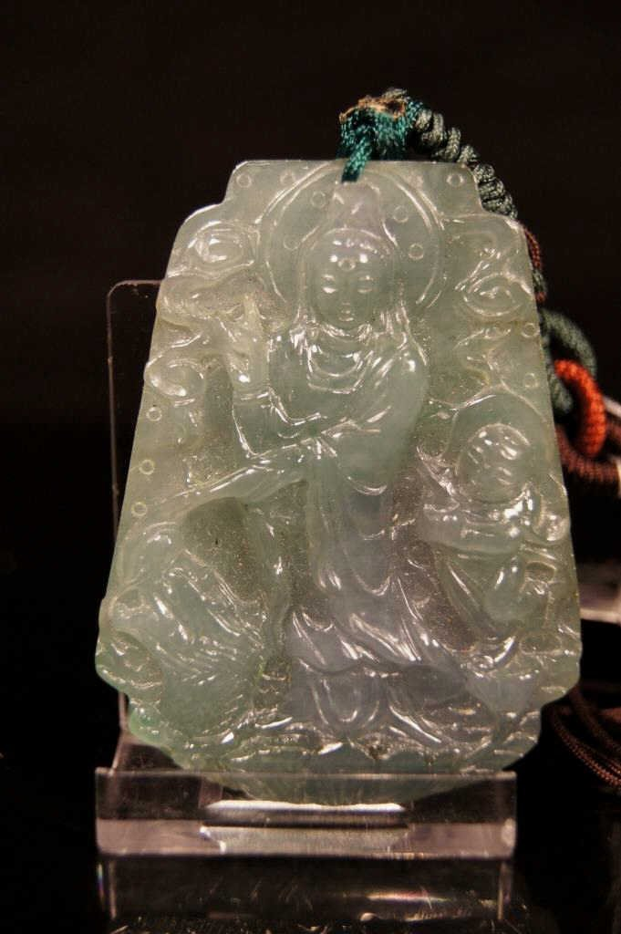 Chinese antique Icy jadeite Kwan Yin pendant