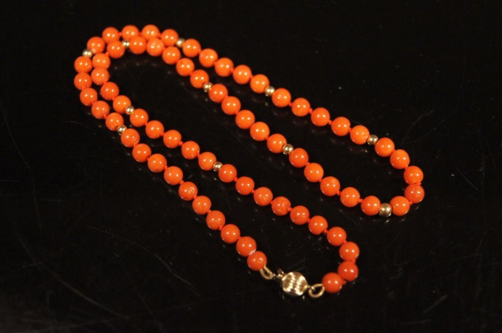 Chinese antique red coral & 14K beads necklace