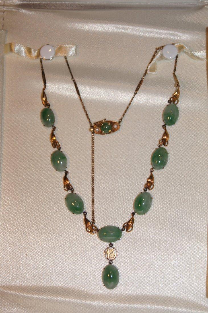 Chinese apple green jadeite 14K gold necklace