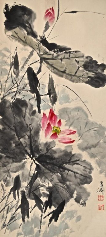Chinese watercolor scroll painting  ; Wang Xue Tao