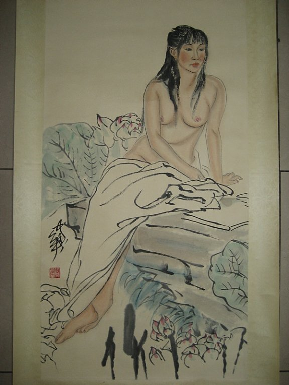 He Jiaying ; Chinese water color scroll