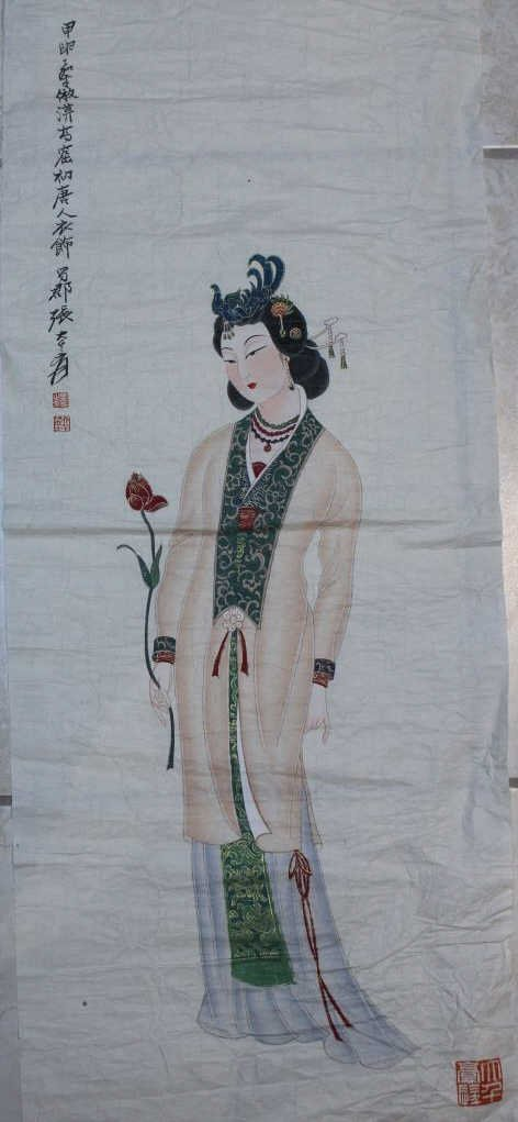 Chinese water color ; signed Zhang daiqian ; 85 X 35 cm
