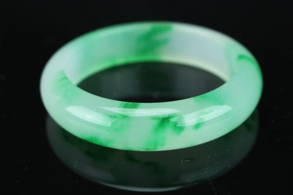 Chinese white and green  jade Bangle : D: 8.1 cm - 3
