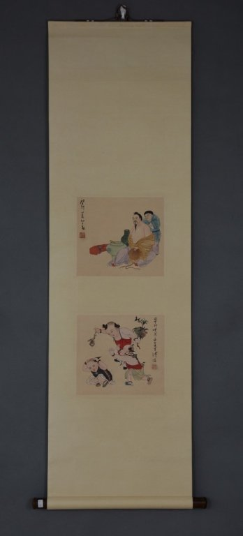 Chinese Scroll Painting ; signed Pu XinYu