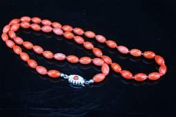 Italian Red coral beads necklace ; 835 silver mark ;