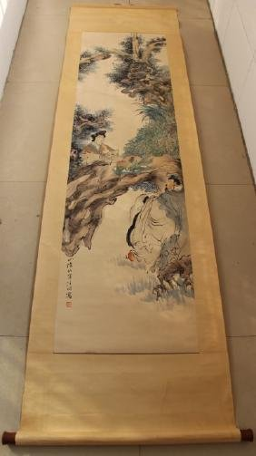 Ren Bonian ; Chinese water color scroll painting