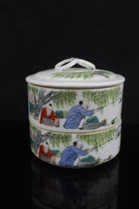 Chinese double layers porcelain box