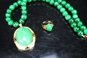 Chinese green jade necklace and Ring ;