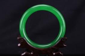 Chinese green jadeite bangle : D: 7.4 cm