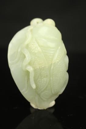 Chinese white jade pendant ; Cicada