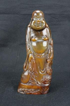 Chinese horn carved Happy Buddha