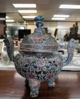 """Large Chinese Champleve Burner  Size: 13"""" H"""
