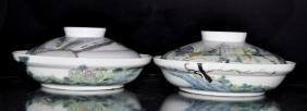 """Pair of Large Famille Rose Lidded Dishes  Size : 10.25"""""""