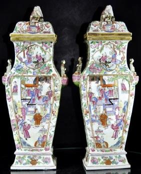Large Pair of Chinese Rose Mandarin Covered Vases  Fine