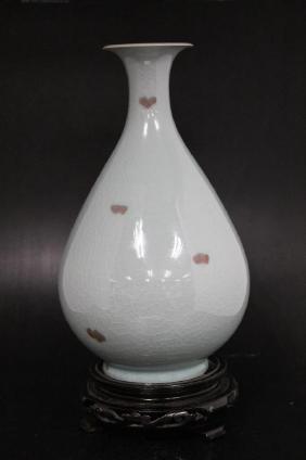 "Antique Korean Crackleware Vase on Stand  Size : 12.5"""