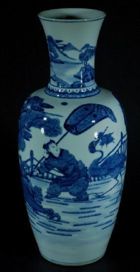 Chinese Kangxi Blue and White Vase  Kangxi 6 Character