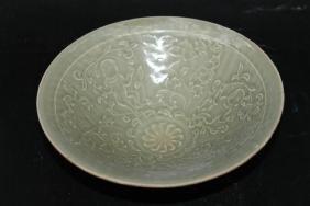 "Chinese Celadon Glazed Carved Bowl  Size : 7.75"" Dia."