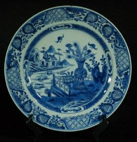 Chinese Blue & White Porcelain Plate  Chinese blue &