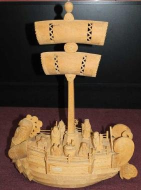 """Well Carved Chinese Boat with 8 Immortals  Size : 28"""" T"""