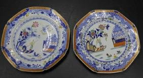 Pair of English Spode Enameled Chinoiserie Plates