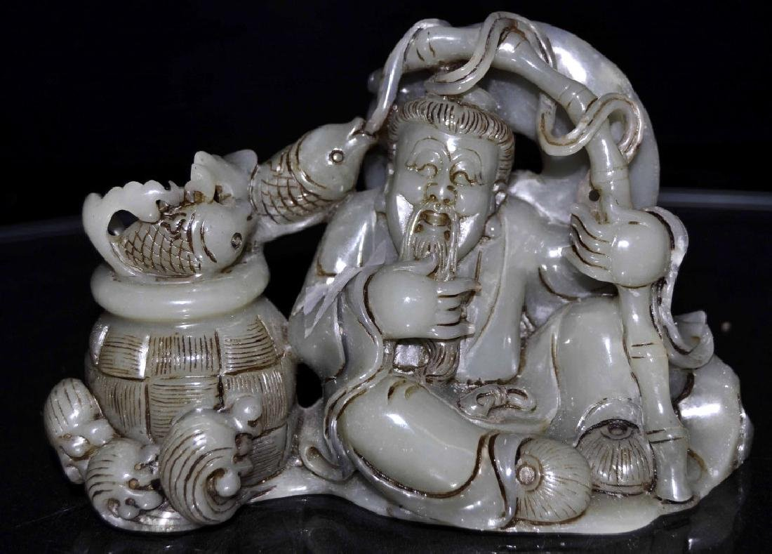 Chinese Carved Jade Figural Group - Fishmonger  Size :