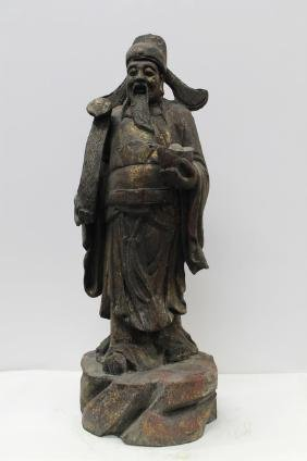 """Large Chinese Carved Wooden Figure  Size : 22.5"""" T"""