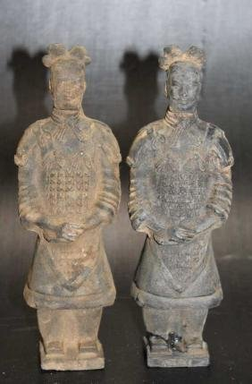 "Lot of 2 Terra Cotta Style Warriors  Size : 7"" T"